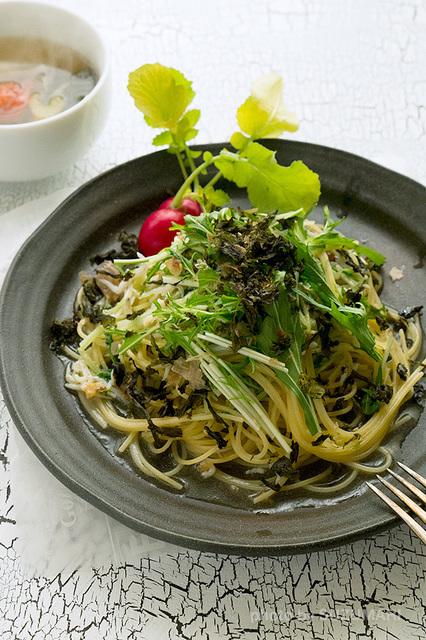 しらすと水菜のペペロンチーノ.jpg