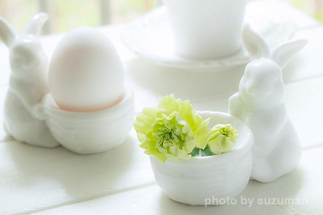 ゆで卵のスタンドをフラワーベースに.jpg